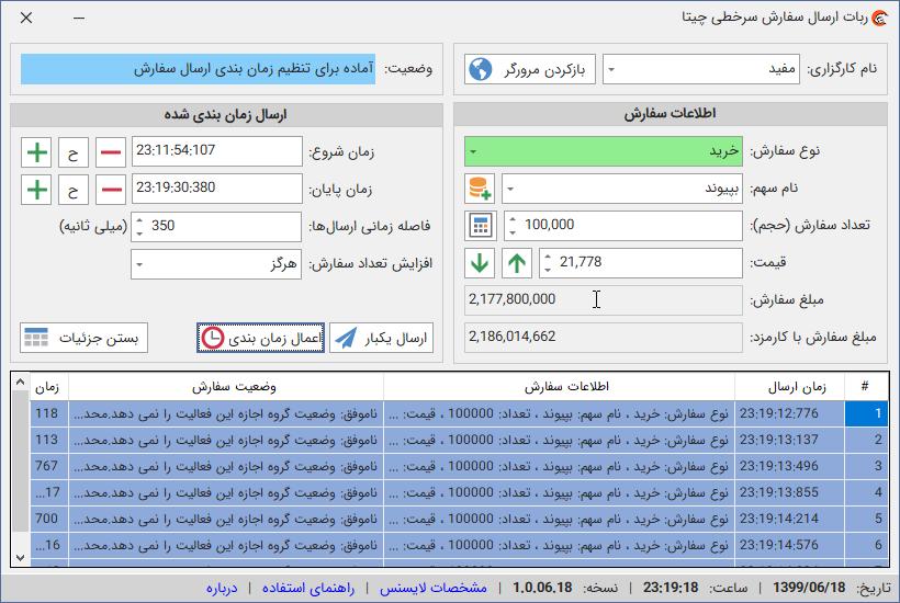 نسخه 1.0.06.18 ربات سرخطی بورس چیتا